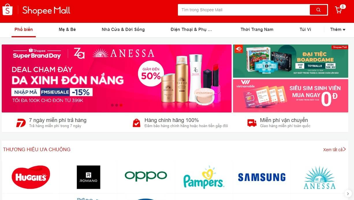 shopmall la gian hang chinh hang shopee